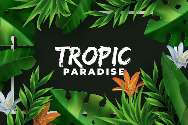 Realistic jungle leaves backgound