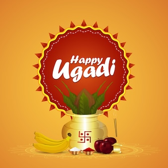 Realistic kalash and fruits for ugadi celebration