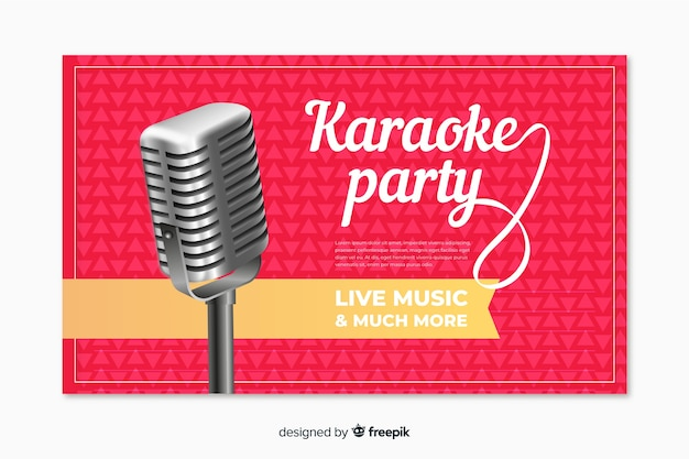 Realistic karaoke party banner template