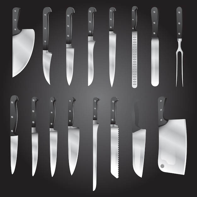 Realistic kind of knifes vector set