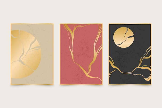 Realistic kintsugi cover collection