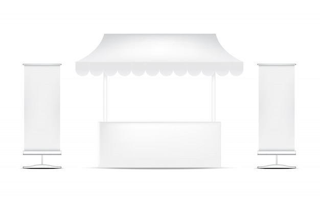 Realistic kiosk display booth for sale marketing promotion, event and exhibition concept design.