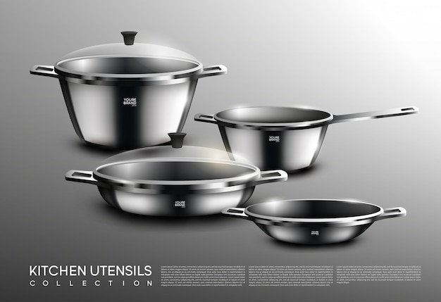 Realistic kitchen cookware set