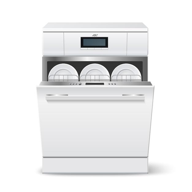 清潔なプレートを搭載したリアルなキッチン食器洗い機。デジタルディスプレイインターフェースを備えた最新の家電食器洗い機。キッチンのインテリア要素。