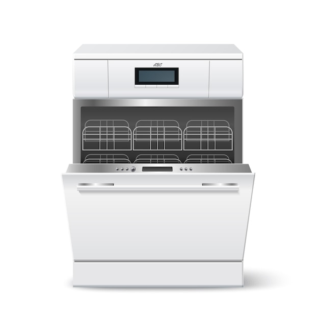 Realistic kitchen dishwasher loaded with empty racks and open door.