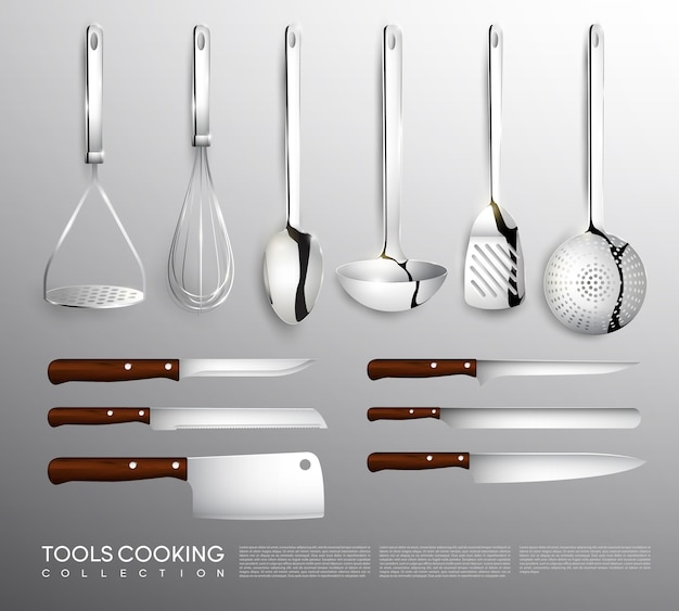Realistic kitchen equipment collection with cooking tools
