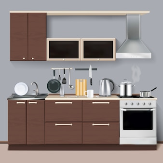 Realistic kitchen interior