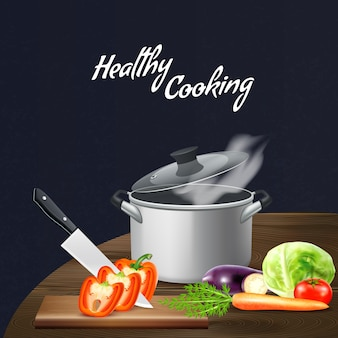 Realistic kitchen tools and vegetables for healthy nutrition at wooden table on black illustration