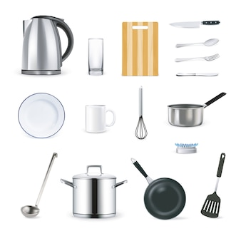 Realistic kitchen utensils icons set
