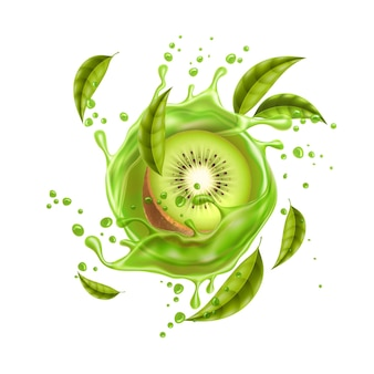 Realistic kiwi fruits with green leaves in juice splash flow juicy product package design