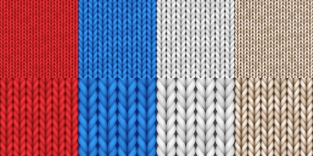 リアルなニットテクスチャーシームレスパターンセット。バナーや壁紙の背景の詳細なウールのテキスタイルスタイル。 3dベクトル図