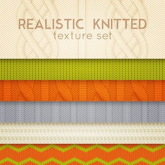 Realistic knitted patterns horizontal layers