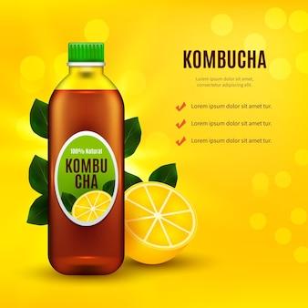 Realistic kombucha tea ad