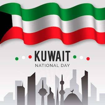 Realistic kuwait national day flag