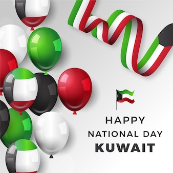 Realistic kuwait national day with balloons
