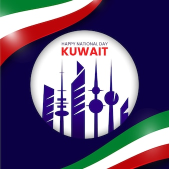 Realistic kuwait national day with city
