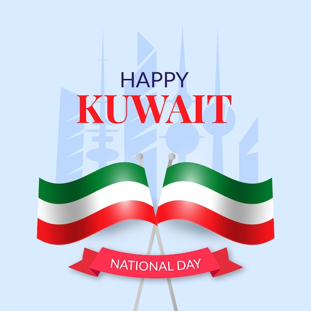 realistic kuwait national day with flag