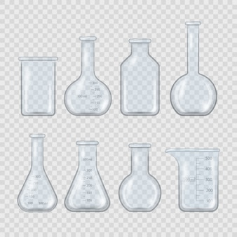 현실적인 실험실 비커, 유리 플라스크 및 기타 화학 용기, 투명 배경에 고립 된 의료 장비를 측정하는 3d. 현실적인 스타일의 빈 화학 실험실 장비.