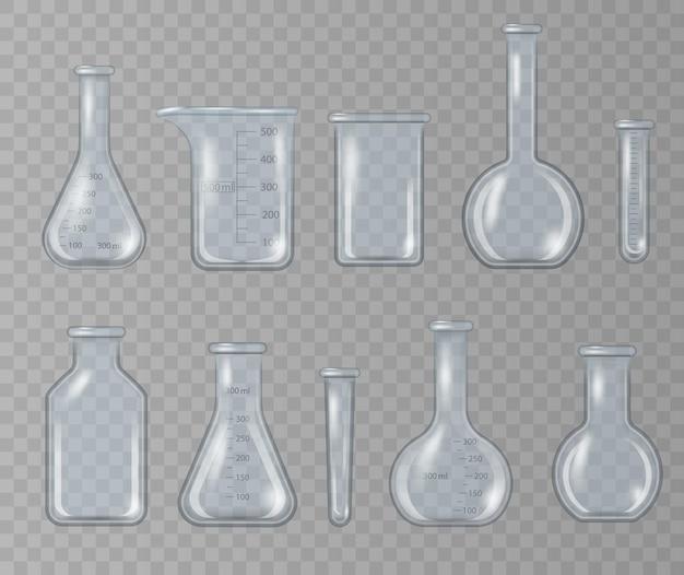 リアルな実験用ビーカー、ガラスフラスコ、その他の化学薬品容器