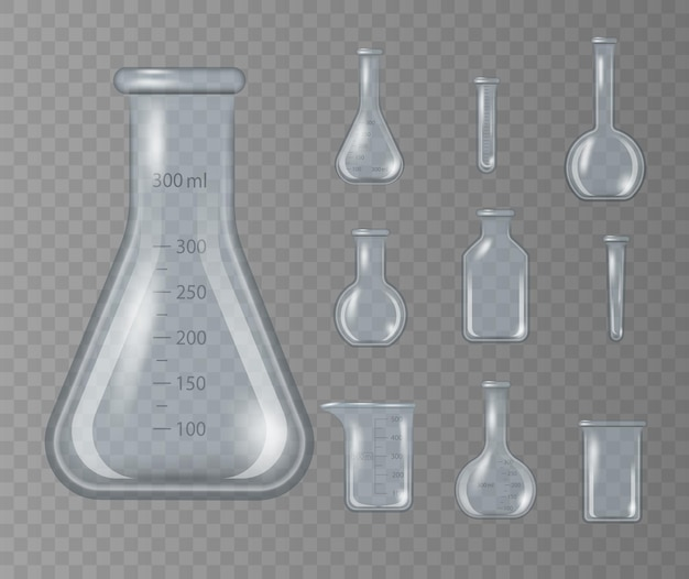 Realistic lab beaker, glass flask and other chemical containers on transparent