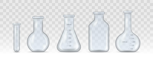 Realistic lab beaker, glass flask and other chemical containers