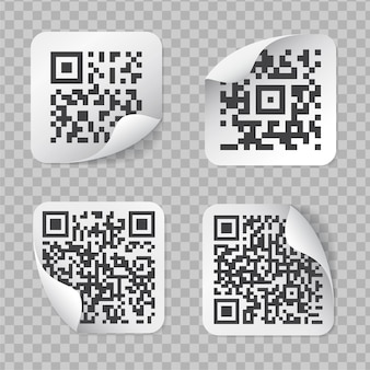 Realistic labels with qr code isolated on transparent background