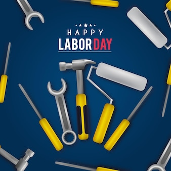 Realistic labor day background with tools