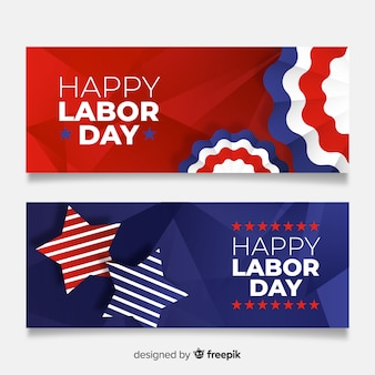 Realistic labor day banners template