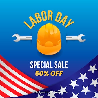 Realistic labor day sale background