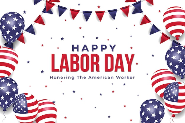 Realistic labor day sale banner with american balloons flag. premium vector
