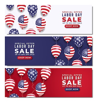 Realistic labor day sale banner with balloons and american flag premium vector