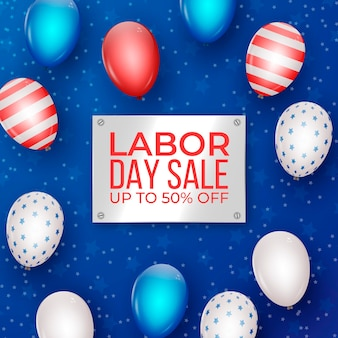 Realistic labor day sale banner
