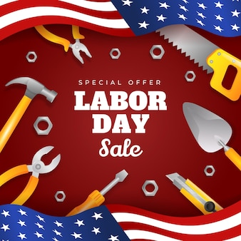 Illustrazione realistica di vendita della festa del lavoro