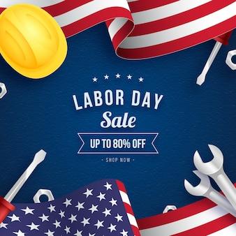 Realistic labor day sale illustration