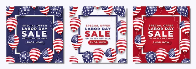 Realistic labor day sale social media post template with balloons and american flag premium vector