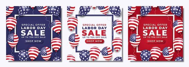 Реалистичный шаблон сообщения в социальных сетях о распродаже ко дню труда с воздушными шарами и американским флагом premium векторы