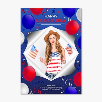 Realistic labor day vertical flyer template with photo