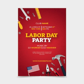 Realistic labor day vertical flyer template