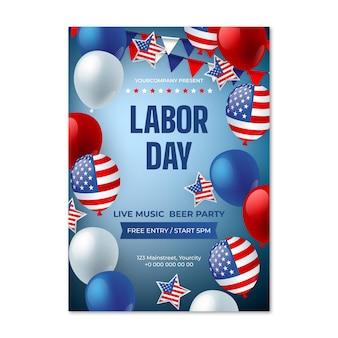 Modello di poster verticale realistico della festa del lavoro