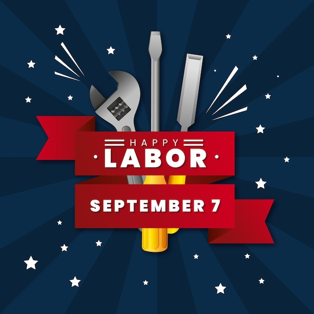 Realistic labor day with greeting and tools