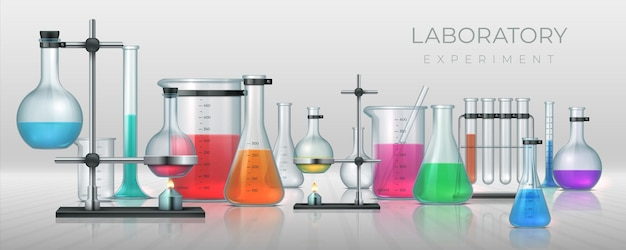 Realistic laboratory. chemistry lab equipment, 3d flask tubes beaker and other measuring glassware