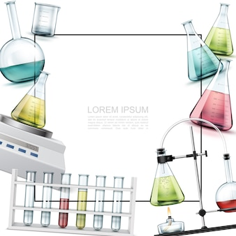 Realistic laboratory elements template with beaker test tubes electronic scales chemical experiment with flasks and alcohol burner