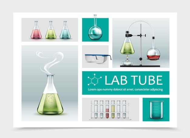 Realistic laboratory equipment composition with full tubes beaker protective glasses and chemical reaction test using flasks and alcohol burner