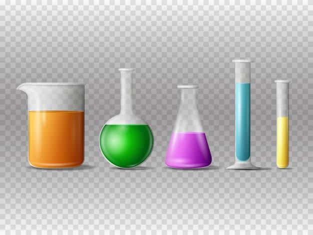Реалистичное лабораторное оборудование. стеклянные пробирки, колбы и химический стакан с химикатами на держателях.