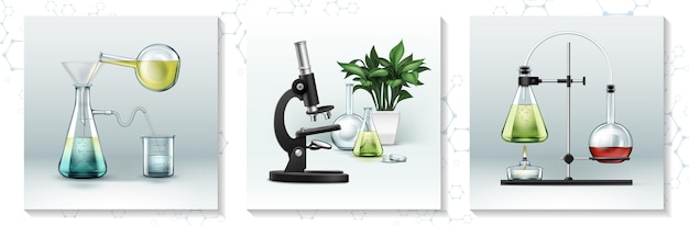 化学実験の図解のためのさまざまな実験器具と機器を備えた現実的な実験研究コンセプト