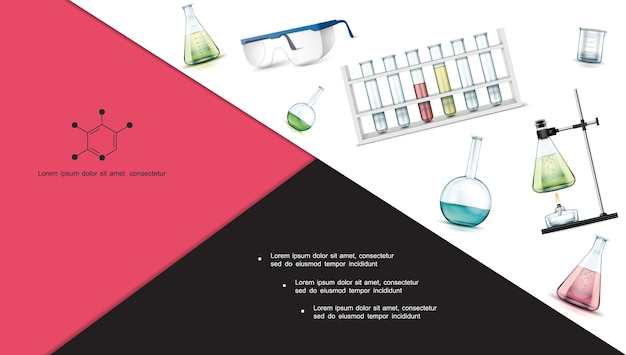 Realistic laboratory research objects composition with test tubes flasks protective glasses beaker alcohol burner