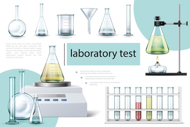 Realistic laboratory tools composition with tubes and flasks of different shapes beaker electronic scales alcohol burner