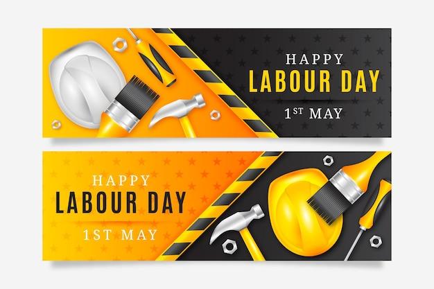 Set di banner realistico festa del lavoro