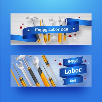 Realistic labour day banners set