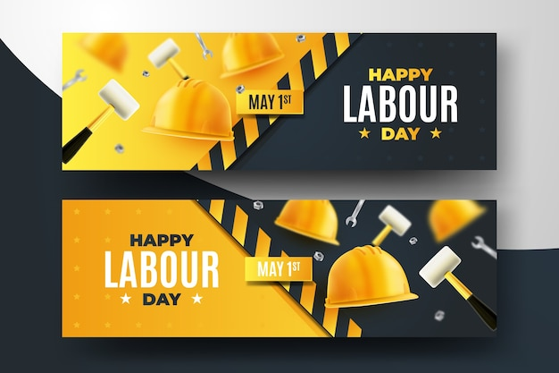 Realistic labour day banners